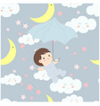 cute cartoon baby in the skybaby shower card vector image vector image