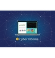 cyber income with graph chart gold coin and laptop vector image vector image