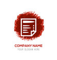 document icon - red watercolor circle splash vector image vector image