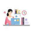 elegant businesswoman character working vector image vector image