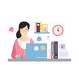elegant businesswoman character working with vector image vector image