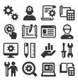 engineering and manufacture icons set on white vector image vector image