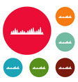 equalizer level icons circle set vector image vector image