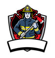 firefighter posing hold the axe badge vector image vector image