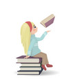 girl seating on a bunch of books knowledge vector image