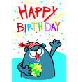 happy birthday bear card vector image