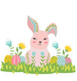 happy easter bunny flowers and eggs in the grass vector image