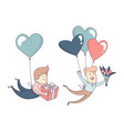 happy valentines day set male character flying vector image