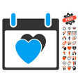 hearts calendar day icon with love bonus vector image vector image