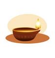 hindu religion candle wooden icon vector image vector image
