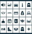 holiday icons set with people calendar mubarak vector image