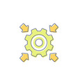 integration icon with cogwheel and arrows vector image vector image