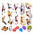 isometric climbing icons set vector image vector image