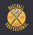 logo design baseball club professional estd 1998 vector image vector image