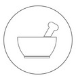 mortar and pestle icon black color in circle or vector image