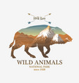 mountains and boar silhouette wild animal vector image