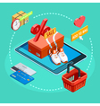 Online Shopping Process Isometric Ecommerce Poster vector image vector image
