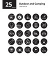 outdoor and camping solid icon set vector image