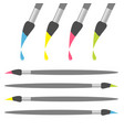 paint brush icon set pink yellow blue green color vector image vector image