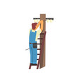 professional electrician standing on stepladder vector image