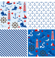 Seamless Nautical Patterns vector image