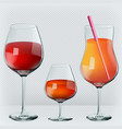 set drinks in transparent realistic glasses vector image vector image
