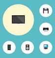 set of computer icons flat style symbols with vector image vector image