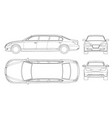 set of outline white limousines isolated on white vector image vector image