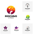 set of reaching stars logo design template dream vector image