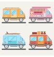 Set of tour buses for tourism ice cream vector image