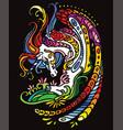 unicorn black color vector image