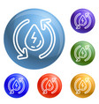 water recycling energy icons set vector image