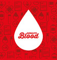 white silhouette drop blood donate medical icons vector image vector image