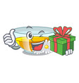 with gift chamomile tea in the cartoon shape vector image vector image