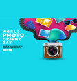 world photography day eventa vintage camera vector image vector image