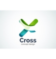 X cross logo template rotated plus medical or vector image
