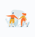 young couple walking outdoor man leads a woman vector image