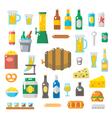 Flat design of beer items set vector image