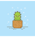 Cute cartoon cactus character vector image