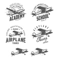 Light airplane related emblems and design elements vector image