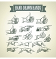 Set of vintage hand-painted hands vector image