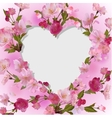 Spring background with heart in flowers vector image