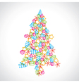 christmas tree design with ball star and tree vector image
