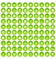100 lunch icons set green circle vector image vector image