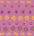 abstract summer flowers on a pink background vector image vector image