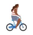 active modern hipster african girl on blue bike vector image vector image