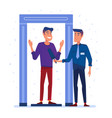 airport security guard on metal detector check vector image
