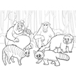 animals group cartoon coloring page vector image vector image
