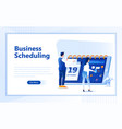 business schedule flat web page design template vector image