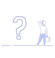 businessman question mark pondering problem vector image vector image